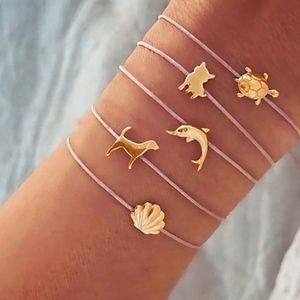 Cute Creatures Gold Animal Charm Cord Bracelet Set